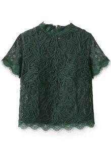 Green Zipper Back Lace Top