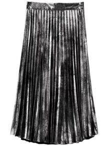 Jupe plissée zippé sur côté -argenté