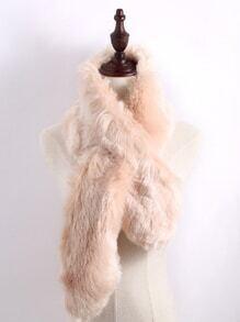 Apricot Faux Fur Plain Wide Stole