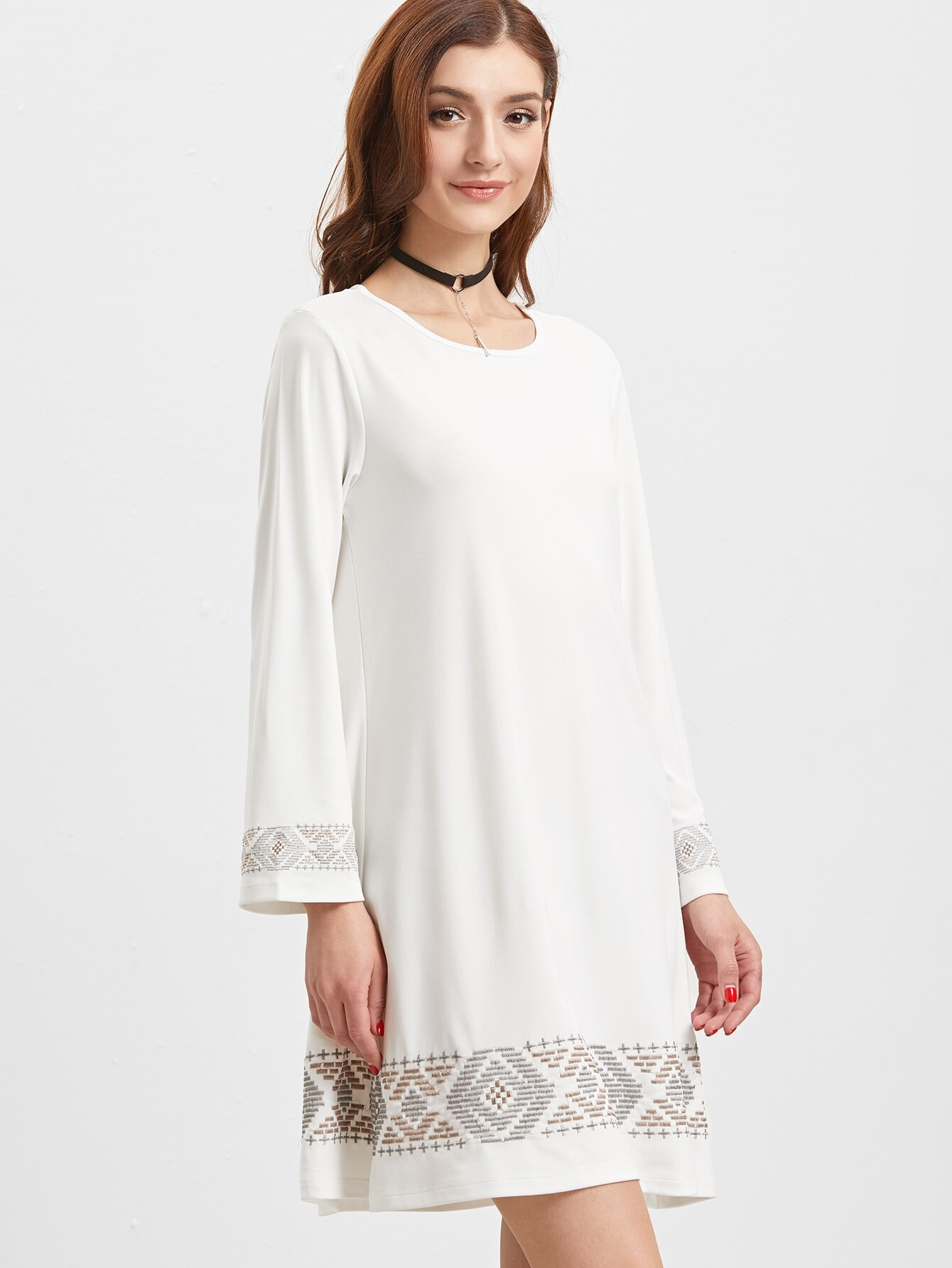 White Embroidered Detail Long Sleeve Tunic Dress -romwe fashions at planetgoldilocks