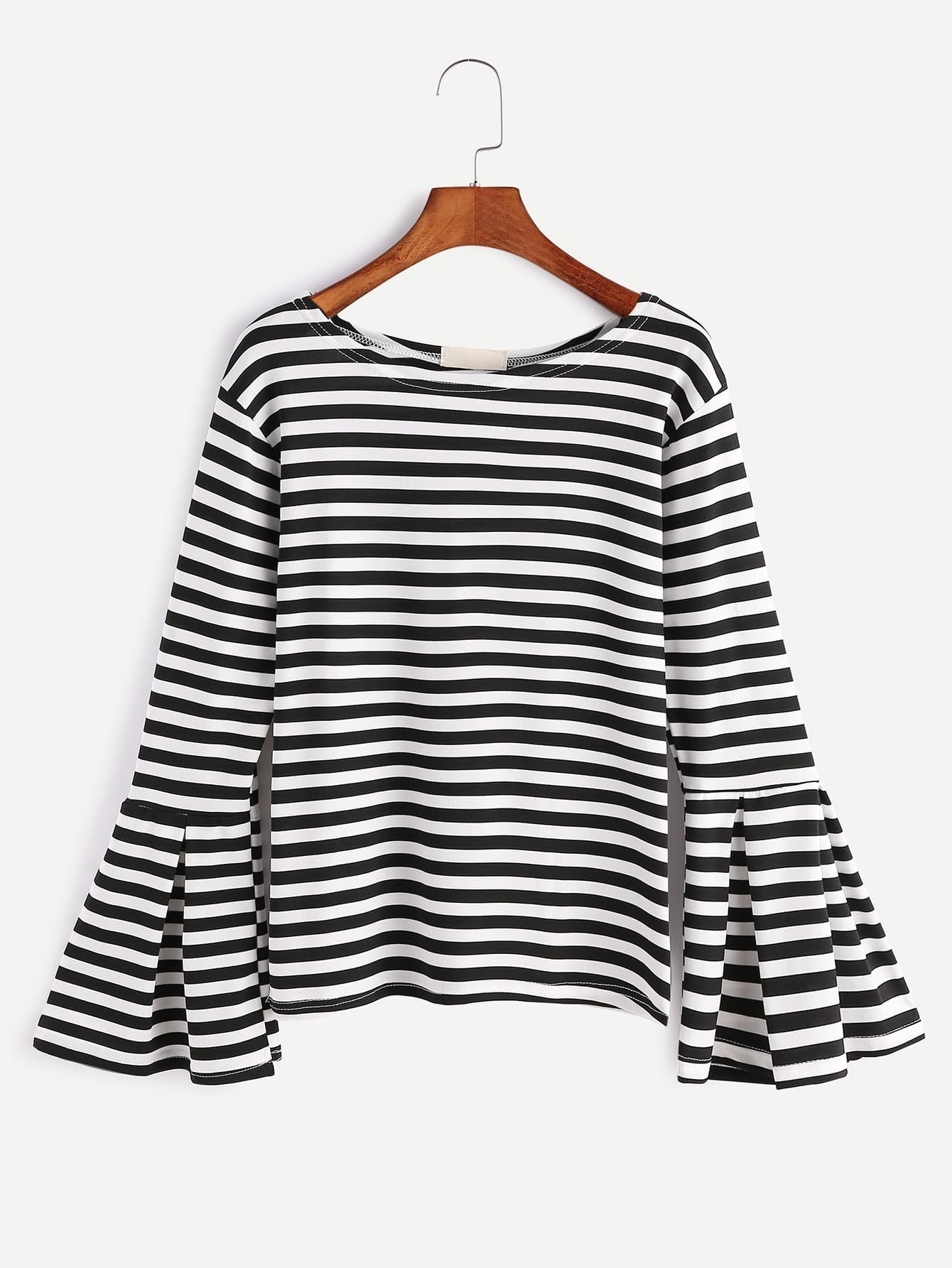 Black And White Striped Bell Sleeve T Shirtfor Women Romwe