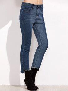Blue Ombre Frayed Hem Jeans