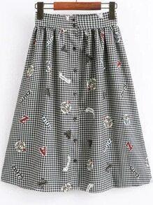 Jupe de taille moyenne écossais boutonné -blanc et noir