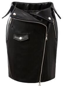 Black Oblique Zipper Bodycon PU Skirt