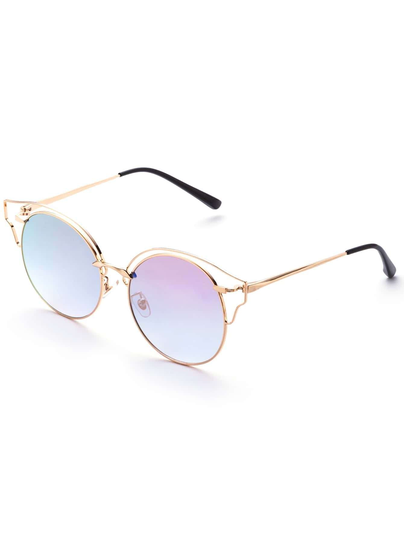 Sunglasses With Gold Frame : Gold Frame Pink Lens Cat Eye Sunglasses