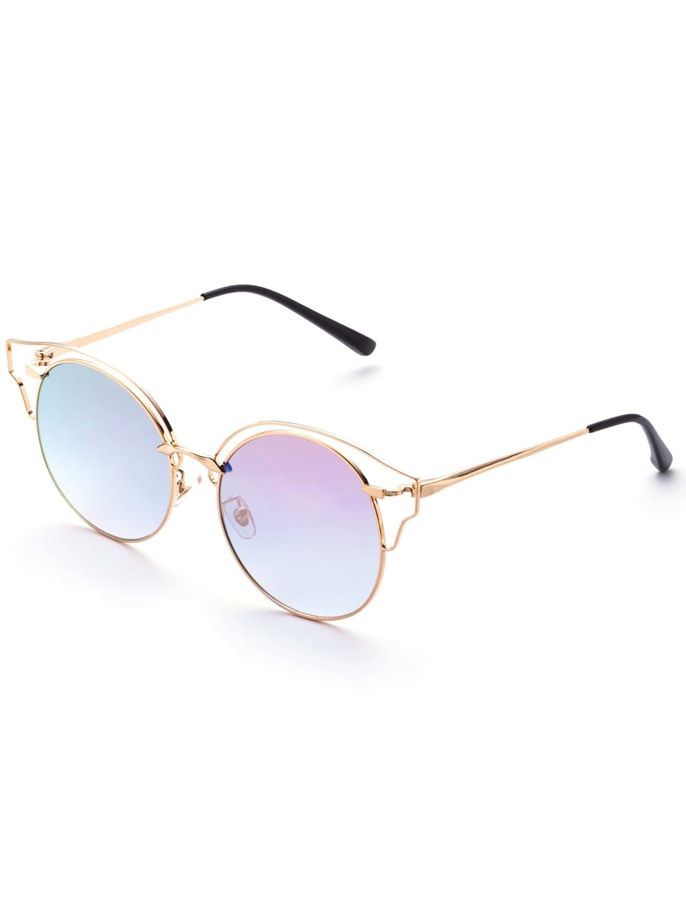 Gold Frame Pink Lens Cat Eye Sunglasses