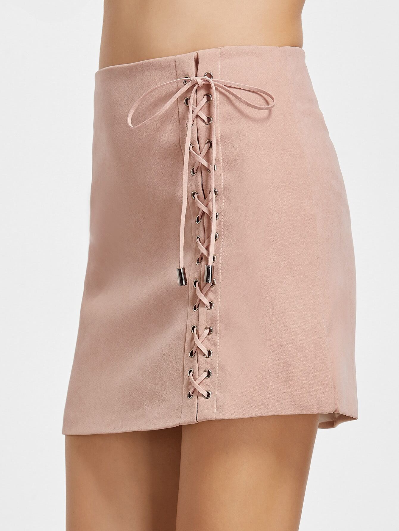 Pink Lace Up Front Zipper Back Skirt