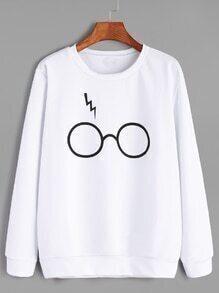 Sudadera con estampado de gafas casual - blanco
