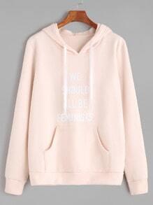 Buy Pink Letter Print Drawstring Hooded Pocket Sweatshirt