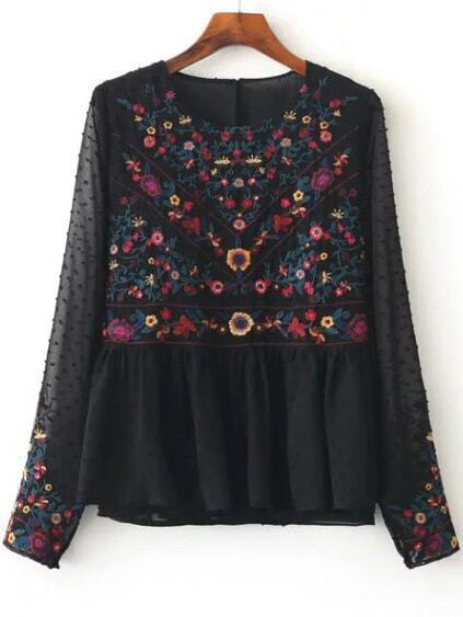 Blouse brodé floral en filet - noir