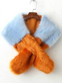 Color Block Cross Faux Fur Stole