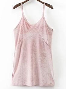 Vestido de terciopelo con tirantes - rosa