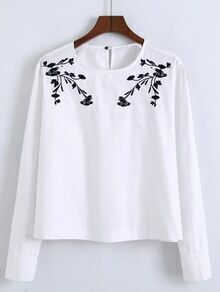 White Buttoned Keyhole Back And Cuff Embroidered Blouse