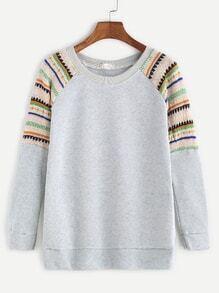 Pale Grey Raglan Sleeve Contrast Trim Sweatshirt