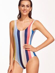 Multicolor Striped Open Back One-Piece Swimwear