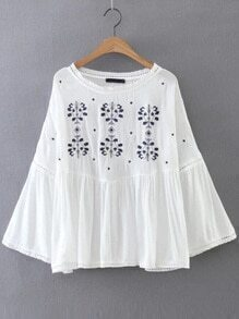 White Embroidery Bell Sleeve Blouse