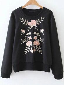 Sweat-shirt brodé floral à nervures élancé -noir