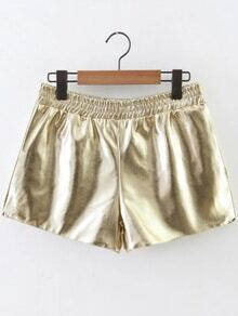 Buy Gold Elastic Waist PU Shorts