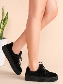 Schuhen mit Schnürungen Samt-schwarz