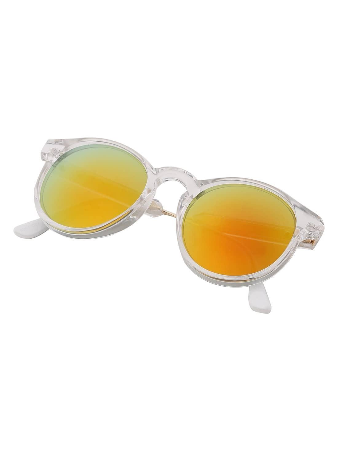 Lunettes de soleil lentilles miroir cadre transparent rond for Miroir rond 90