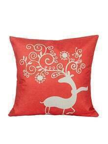 Red Graphic Print Pillowcase Cover