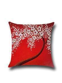 Red Floral Print Pillowcase Cover
