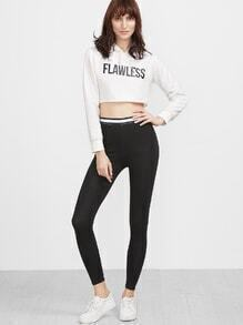 Black Waist Contrast Trim Skinny Leggings