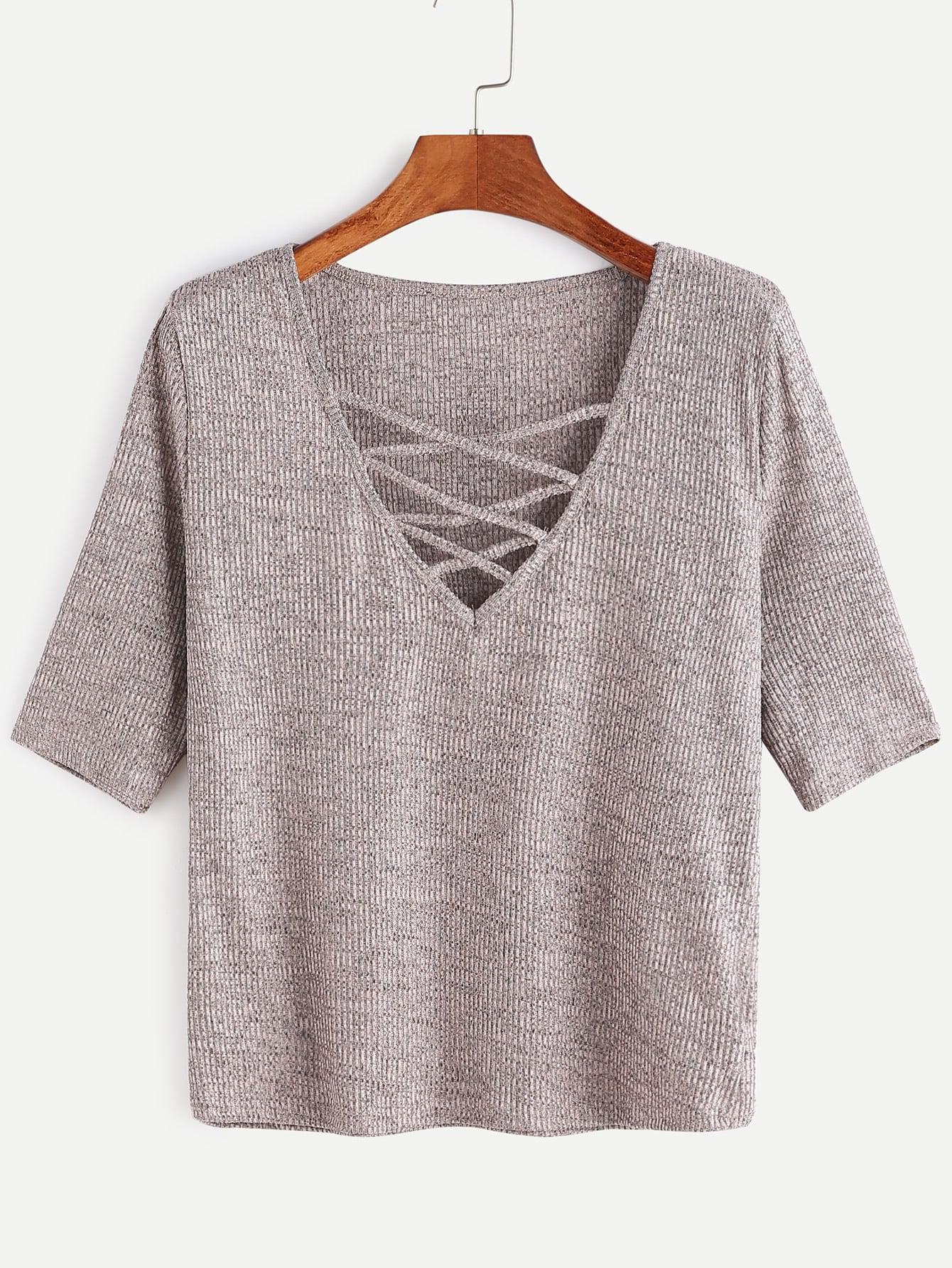 Criss Cross Deep V Neck Ribbed Knit T-shirt RTSH161213001