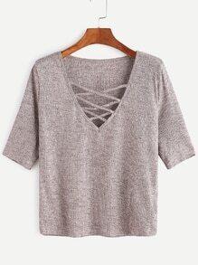 Criss Cross Deep V Neck Ribbed Knit T-shirt