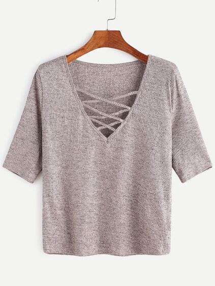 Criss Cross Deep V Neck Ribbed Knit T-shirt