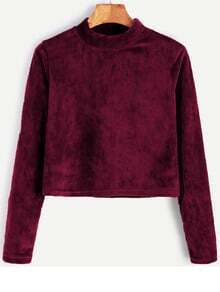 Burgundy Velvet High Neck Crop T-shirt