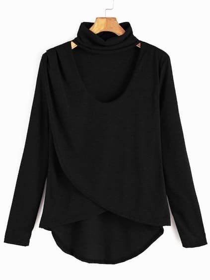 Black Dip Hem Choker Neck Wrap Front T-shirt