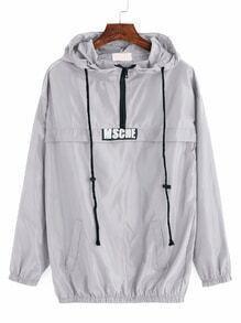 Grey Print Drawstring Hooded Sweatshirt With Zipper Detail