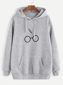 Sudadera de capucha con estampado con bolsillo - gris claro
