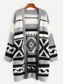 Grey Open Front Geometric Pattern Sweater Coat