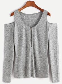 Light Grey Open Shoulder Zipper Front Knitwear