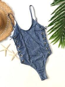 Blue Eyelet Lace Up Open Back Monokini