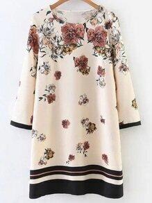 Apricot Floral Print Contrast Trim Dress