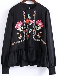 Black Flower Embroidery Ruffle Hem Blouse