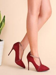 Zapatos de salón de ante con tira cruzada - burdeos