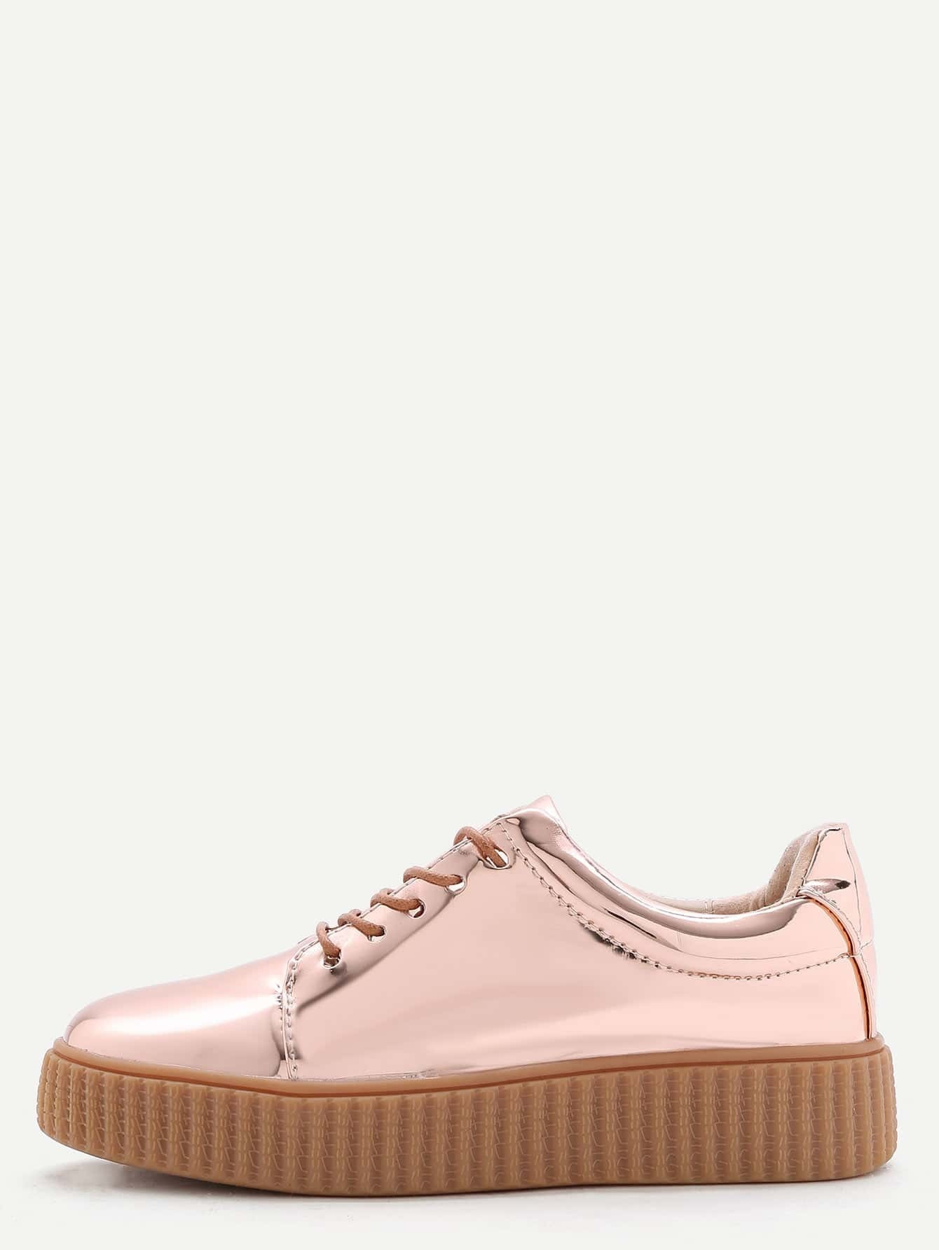 gold patent leather rubber sole sneakersfor romwe