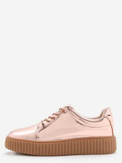 Rose Gold Patent Leather Rubber Sole Sneakers