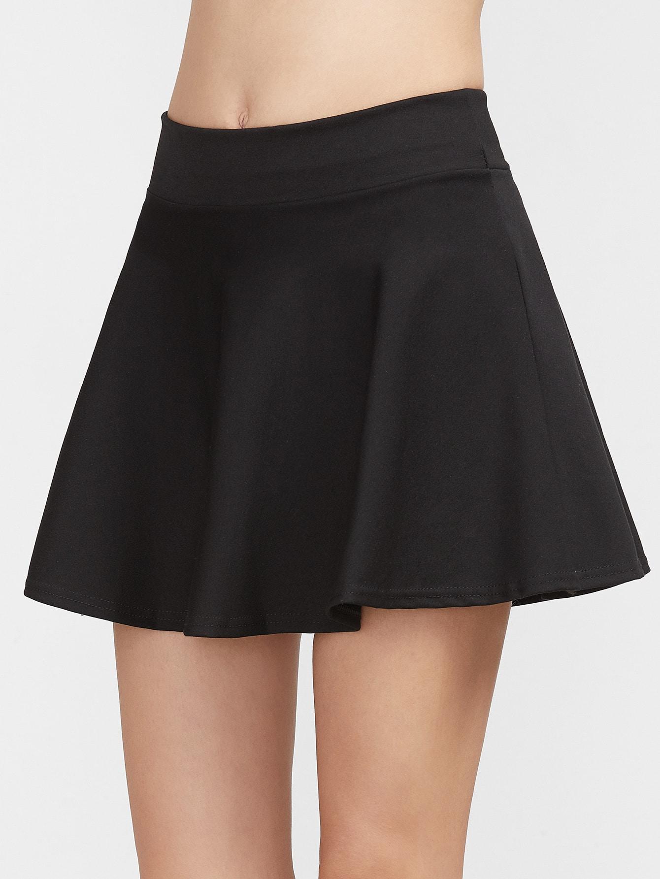 Black Plain A Line Skirt
