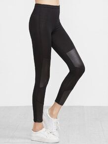 Black Contrast Faux Leather Trim Skinny Leggings