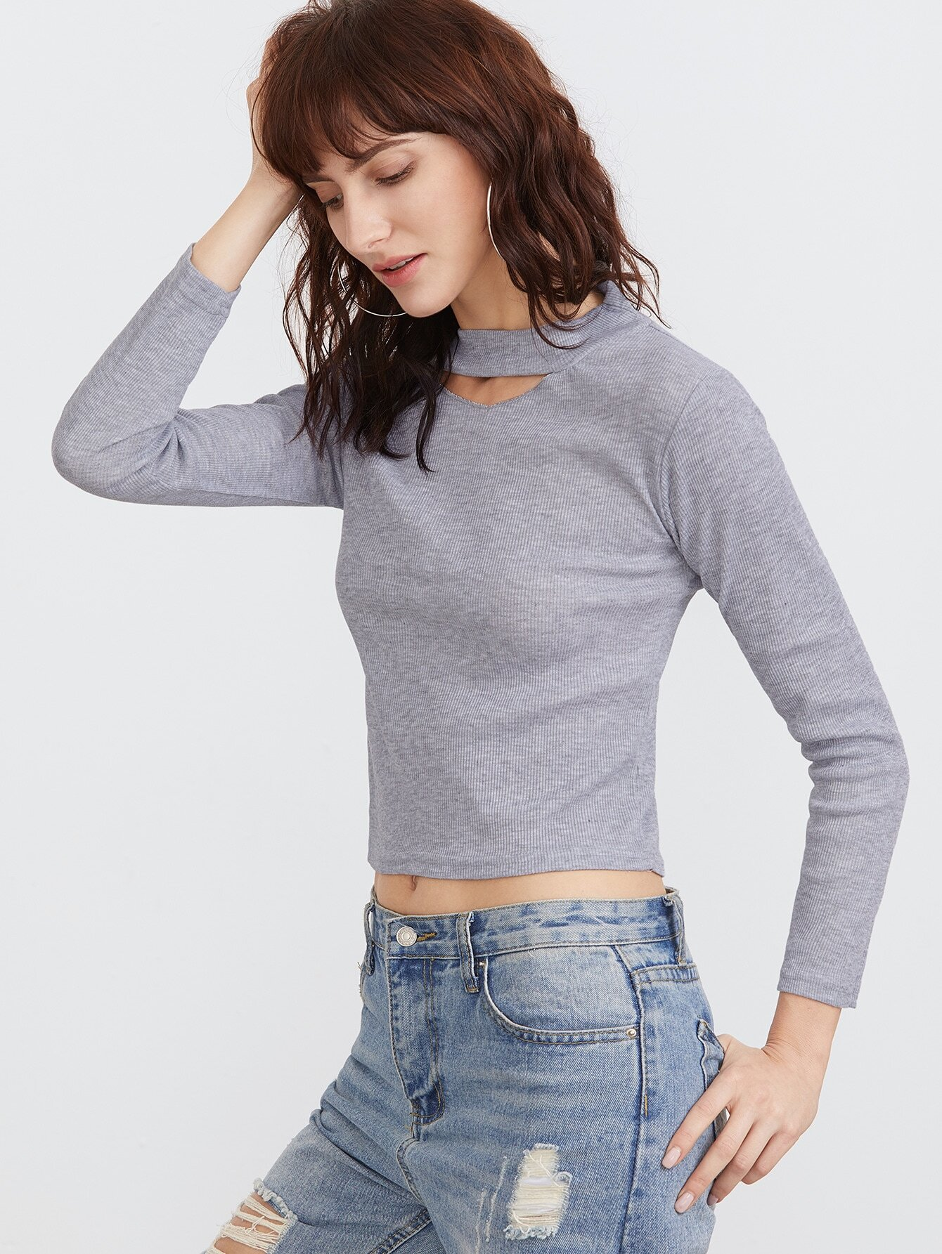 Light Grey Cut Out Neck Crop Tight T Shirtfor Women Romwe
