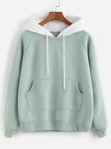 Sweat-shirt manche raglan avec poche et capuche congtrasté -vert pâle