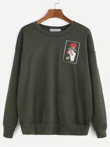 Sweat-shirt brodé rose er main -vert d'armée