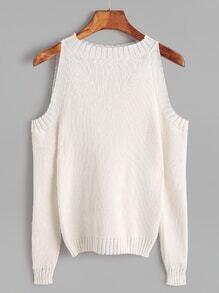 Ivory Open Shoulder Long Sleeve Sweater