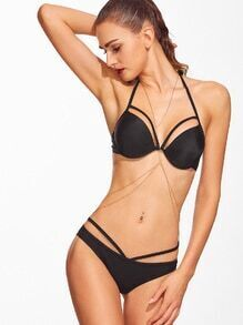 Bikini Set Cut-Outs Neckholder-schwarz