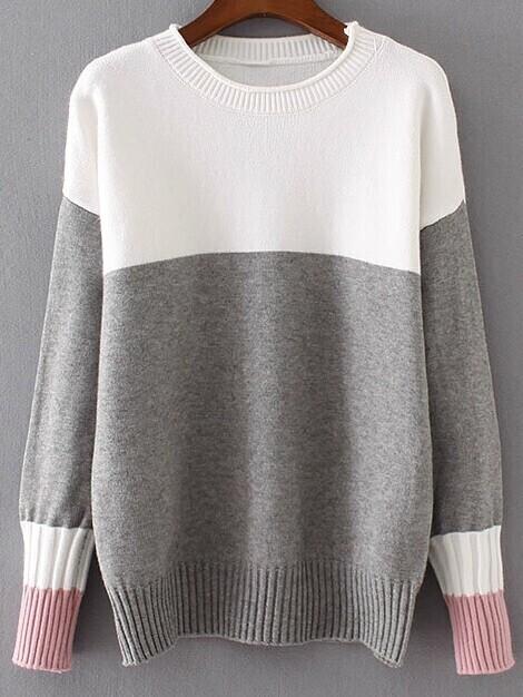 Color Block Ribbed Trim Drop Shoulder Sweater